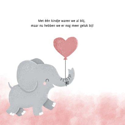 Lief geboortekaartje met olifantje en waterverf meisje  2