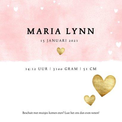 Lief geboortekaartje met roze waterverf en gouden hartjes 3