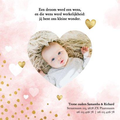 Lief geboortekaartje met roze waterverf, hartjes en stipjes 2