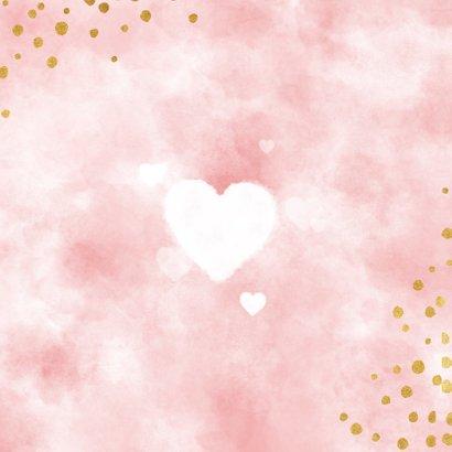 Lief geboortekaartje met roze waterverf, hartjes en stipjes Achterkant