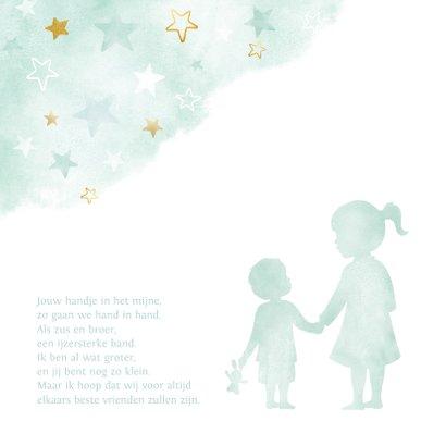 Lief geboortekaartje met silhouet van grote zus en broertje 2