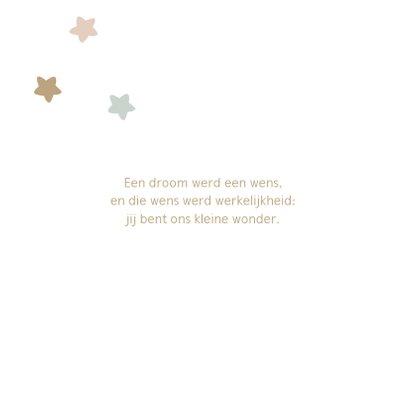 Lief geboortekaartje met sterren in zachte pasteltinten 2