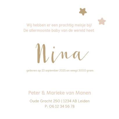 Lief geboortekaartje met sterren in zachte pasteltinten 3