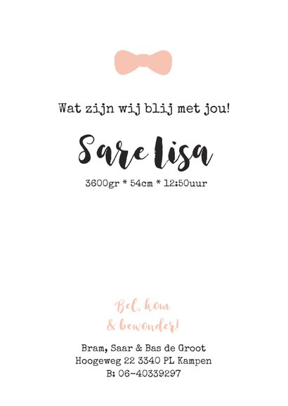 Lief geboortekaartje met strikje en confetti 3