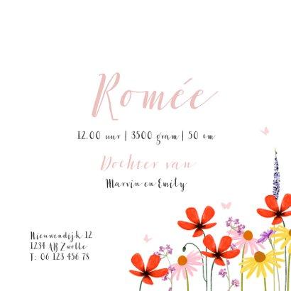 Lief geboortekaartje met veldbloemen en vlindertjes 3