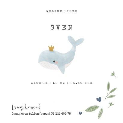 Lief geboortekaartje met walvis en hartjes voor jongen 3