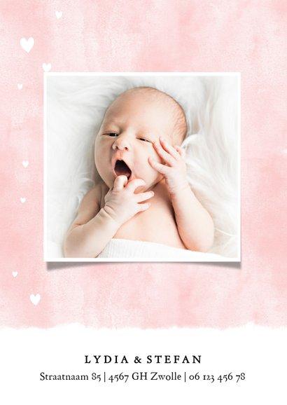 Lief geboortekaartje met waterverf achtergrond en hartjes 2