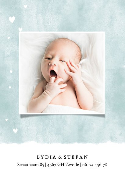 Lief geboortekaartje met waterverf en hartjes voor jongen 2