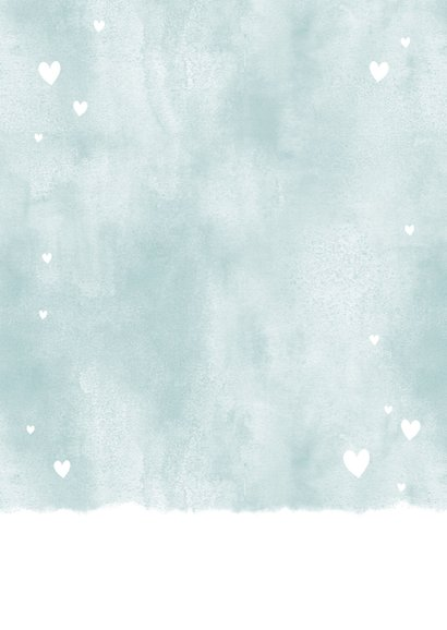 Lief geboortekaartje met waterverf en hartjes voor jongen Achterkant