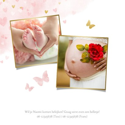 Lief geboortekaartje met waterverf hartjes, vlinders en foto 2