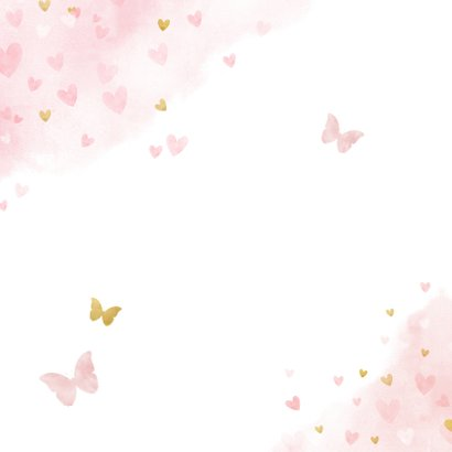 Lief geboortekaartje met waterverf hartjes, vlinders en foto Achterkant