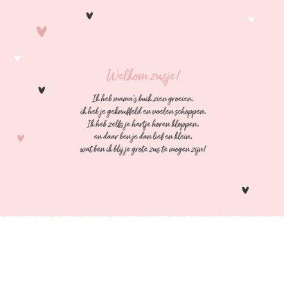 Lief geboortekaartje olifantjes meisje zusje hartjes roze 2
