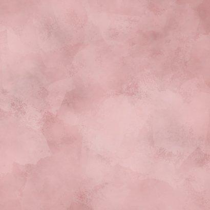 Lief geboortekaartje roze waterverf, bloemetjes en hartjes Achterkant