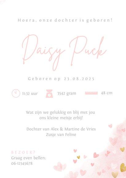 Lief geboortekaartje roze waterverf hartjes voor een meisje  3