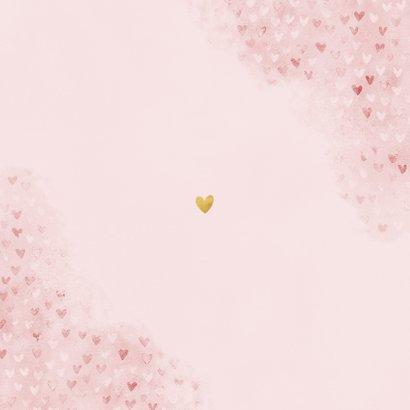 Lief geboortekaartje roze waterverf met hartjes Achterkant