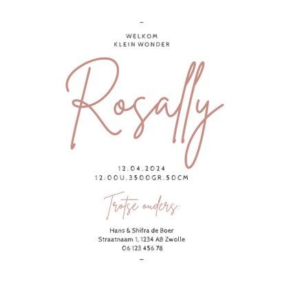 Lief geboortekaartje stijlvol rozenkwarts minimalistisch 3