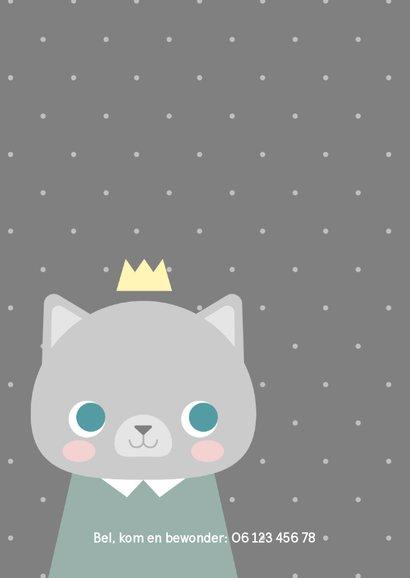 Lief geboortekaartje voor een jongen met een kat en kroontje 2