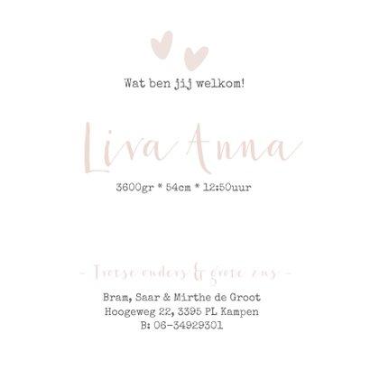 Lief geboortekaartje voor een meisje met oud roze hartjes.  3