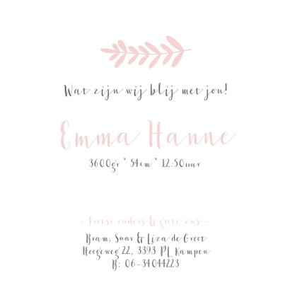 Lief geboortekaartje voor een meisje met roze takje 3