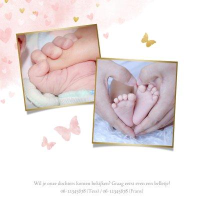 Lief geboortekaartje voor een meisjes tweeling met hartjes 2