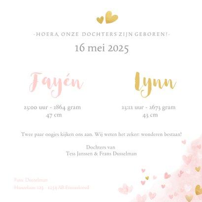 Lief geboortekaartje voor een meisjes tweeling met hartjes 3