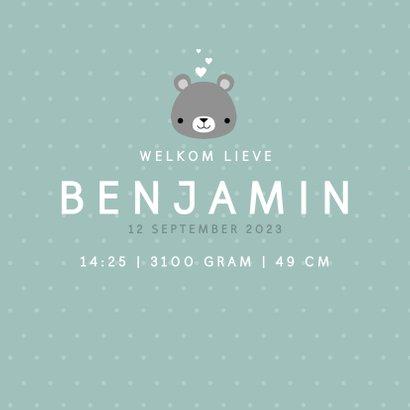 Lief geboortekaartje voor jongen met beertje en stipjes 3