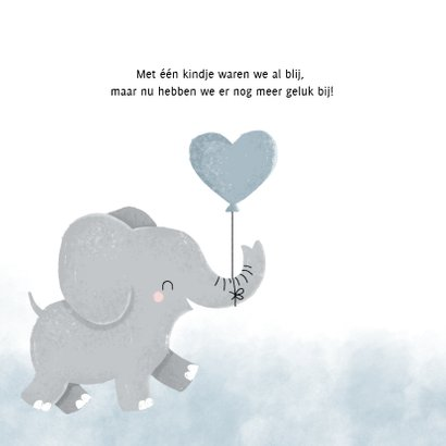 Lief geboortekaartje voor jongen met olifantje en waterverf 2