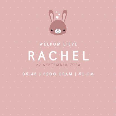 Lief geboortekaartje voor meisje met konijntje en stipjes 3