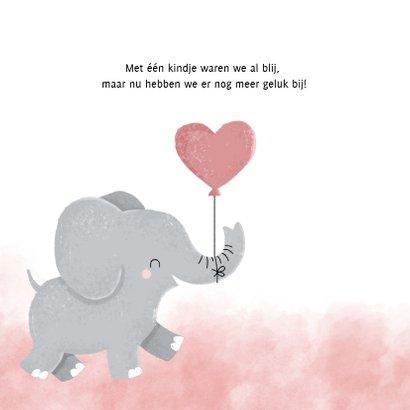 Lief geboortekaartje voor meisje met olifantje en waterverf 2
