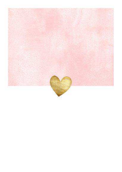 Lief geboortekaartje voor meisje met waterverf en hartjes Achterkant