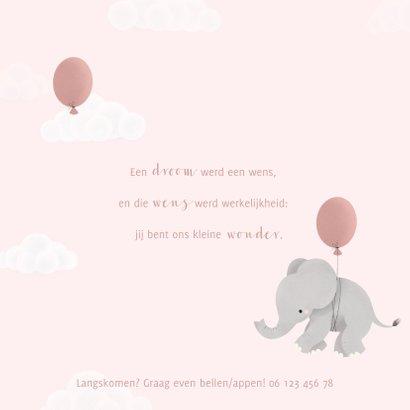Lief geboortekaartje voor meisje olifantje aan ballon 2