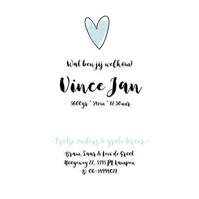 Lief geboortekaartjes met watercolor hartjes 3