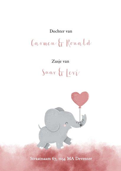 Lief geboortekeaartje met olifantje en roze waterverf 2