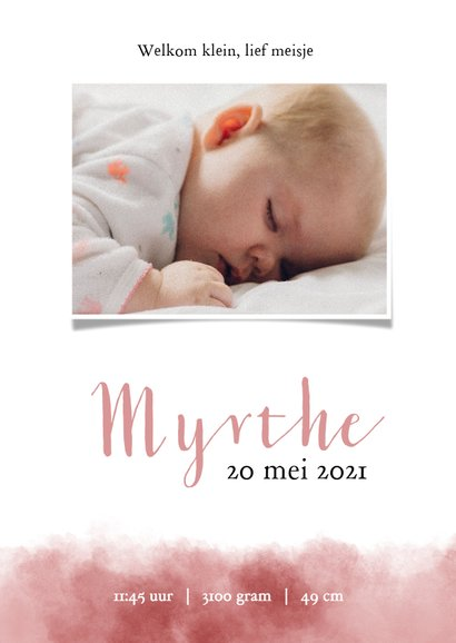 Lief geboortekeaartje met olifantje en roze waterverf 3