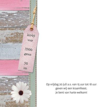 Lief kaartje meisje hout label bloem 2