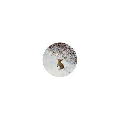 Lief kerstkonijn in winterbos onder besneeuwde takken Achterkant