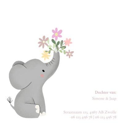 Lief olifantje en bloemetjes, geboortekaartje voor meisje 2