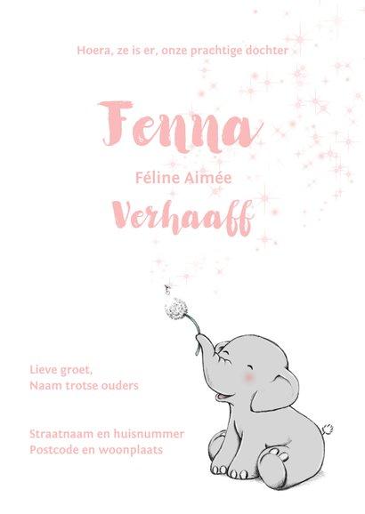 Lief olifantje en wensbloem geboortekaartje  3