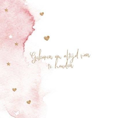 Lief roze watercolor brush geboortekaartje meisje hartjes 2