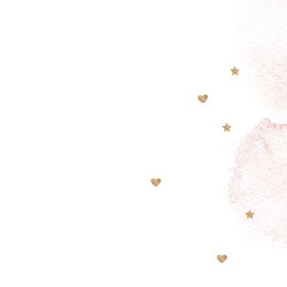 Lief roze watercolor brush geboortekaartje meisje hartjes Achterkant