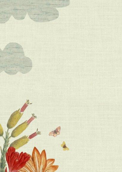Lief vintage geboortekaartje met giraffe en bloemen 2
