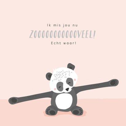 Lief zalmroze kaartje met getekende pandabeer 'ik mis je' 2