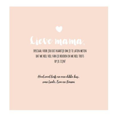 Lief zalmroze kaartje voor moederdag 3