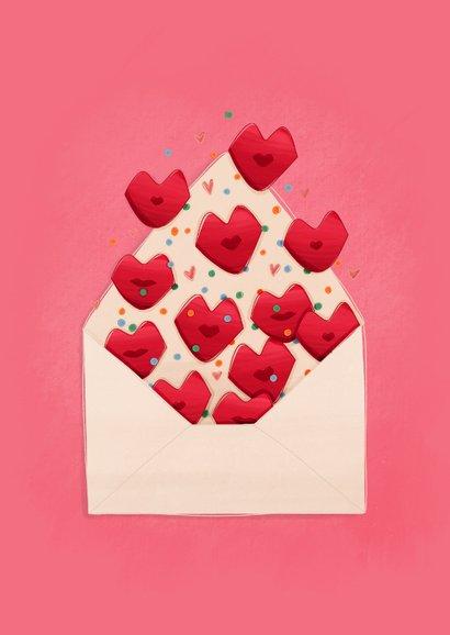 Liefde kaart liefs en kusjes uit een envelop 2