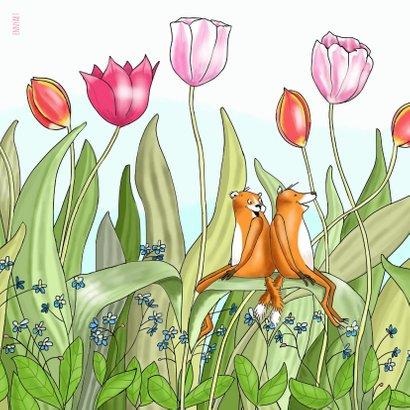 Liefde - knuffelende vosjes tussen de tulpen 2