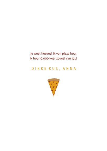 Liefdekaart love at first slice pizza met hartjes 3
