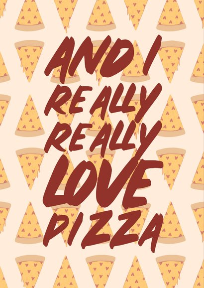 Liefdekaart love you more than pizza met hartjes 2