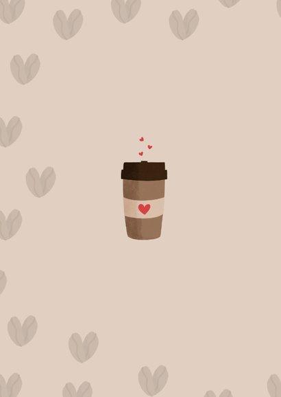 Liefdeskaart met een koffiebeker en hartjes 2