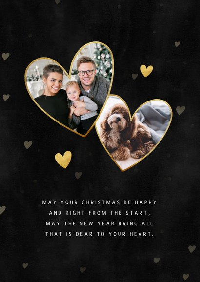 Liefdevolle kerstkaart gouden hartjes, spetters en foto 2