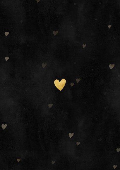 Liefdevolle kerstkaart gouden hartjes, spetters en foto Achterkant